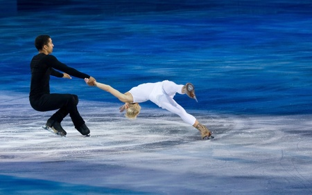 figure skates: Turin, Italy - October,  8, 2011: Aljona Savchenko and Robin Szolkowy of Russia perform in the Gran Gal� of Ice event in the Palavela in Turin, Italy