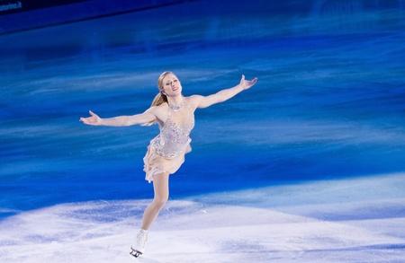 Torino, Italia - Ottobre 8, 2011: Joannie Rochette del Canada svolgere nel Gal Gran dell'evento ghiaccio nel Palavela di Torino, Italia Editoriali