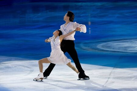 Turin, Italy - October,  8, 2011: Qing Pang and Jian Tong of China  perform in the Gran Gal� of Ice event in the Palavela in Turin, Italy