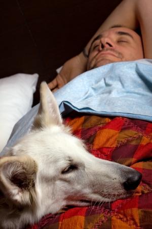 youg man is sleeping with a dog Stock Photo