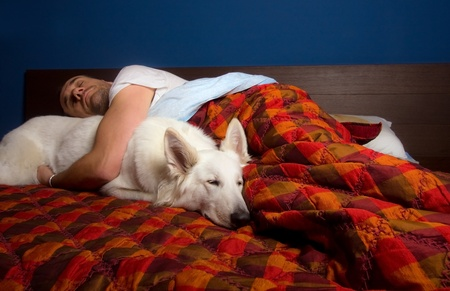amigos abrazandose: el hombre est� durmiendo en la cama con un perro