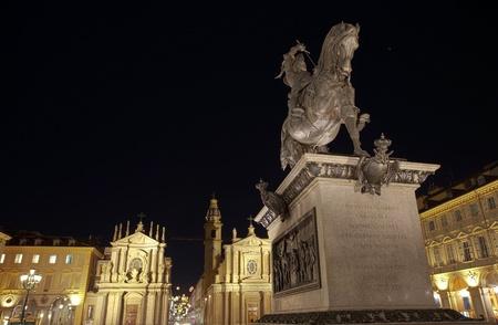 Sainn Carlo square, Turin, Italy Editorial