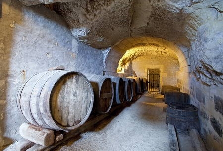 chateau: ancient wine cellar in the tuff