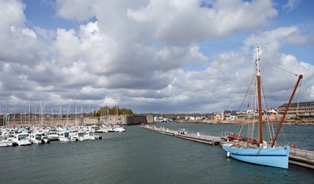 medioeval: Harbor of Concarneau, France  Editorial