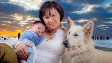 mam: Sweet baby boy, his mam and a dog Stock Photo