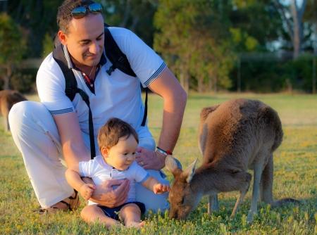sweet kid and a kangaroo Stock Photo