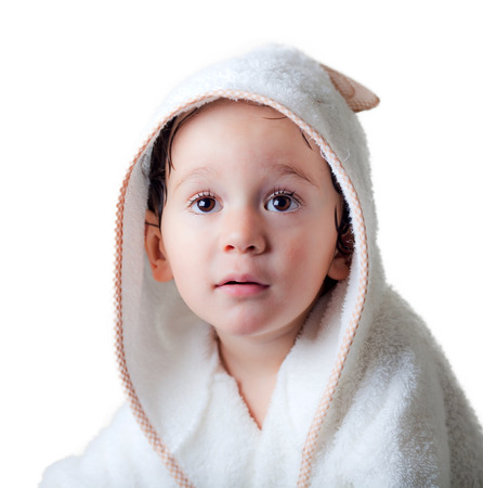 baby with bathrobe