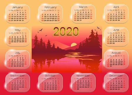 calendar 2020 with beautiful sunset background