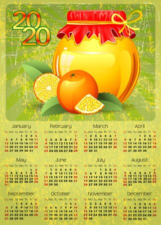 calendar 2020 with canned fruit background