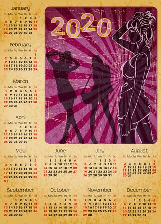 calendar 2020 with women silhouette and vintage grunge background
