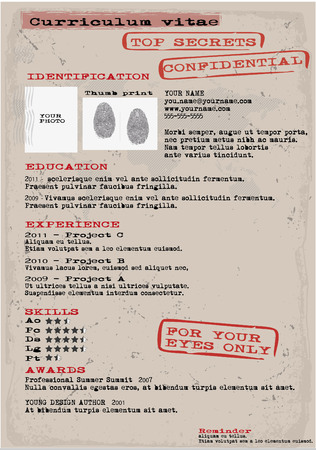 creative resume and cv template secret file Ilustração