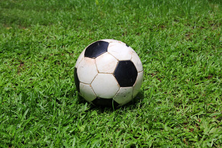 Dirty ball on the grass photo