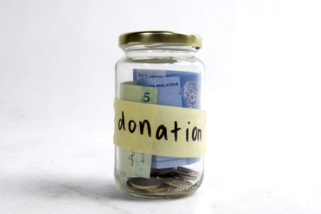 pension cuts: money in the jar for donation