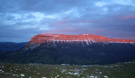 northern spain: Red sunset in the mountains of northern Spain