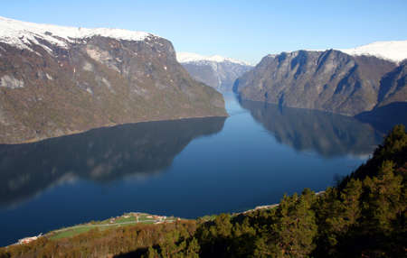 Beautiful view of the Norvegian fiord. Scenery near Flam and Aurland. Stock Photo