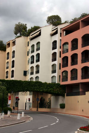 Street in Monaco - turn of road and a number of apartment houses Stock Photo