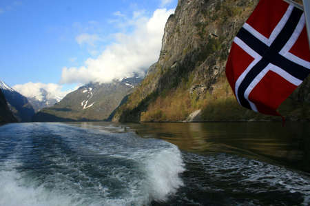 norwegian: Beautiful view of the Norwegian jiord. Scenery near Flam and Aurland.