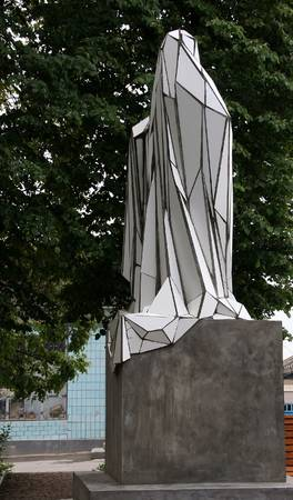 unopened: Unopened monument monument to the Ukrainian Town Shargorod Stock Photo