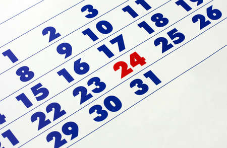 Photo of a wall calendar in bold numbers