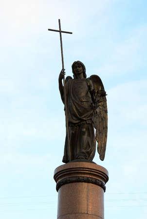 brest: Guardian Angel figure on the pillar of the monument Millennium Brest