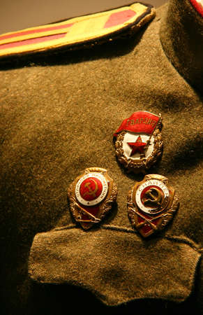Military Uniform Soldier Soviet army during World War II with award