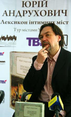 prose: Lutsk, Ukraine - April 12, 2012 - Ukrainian prose writer Yuri Andrukhovych during presentation of the new book
