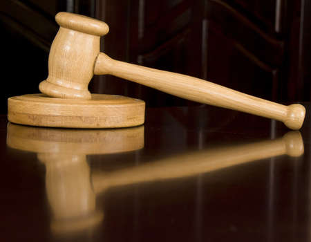 bail: Wooden justice gavel and sound block