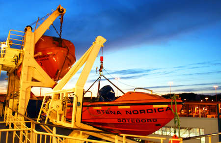 lifeboat: Gdansk, Poland - April 28, 2007 - Lifeboats on the deck of ferry Stena Line Nordica
