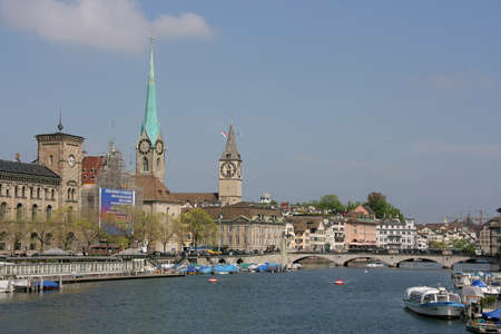 historic district: View of Zurich historic district in Switzerland