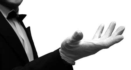 Black and white photo of empty hands waiter Фото со стока