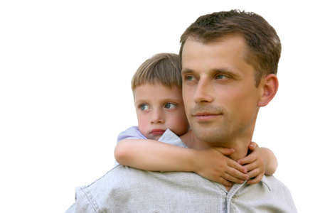 Closeup portrait of a happy father and son together photo