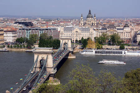 The old Chain Bridge is famous landmark of Budapest - the capital of Hungary.