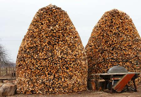 kindling: Dry firewood in a pile for furnace kindling