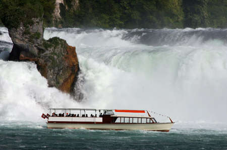 Rheinfall, Waterfall of the river Rhein at Neuhausen, Schaffhausen, Switzerland Фото со стока