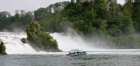 rhein: Rheinfall, Waterfall of the river Rhein at Schaffhausen, Switzerland Stock Photo
