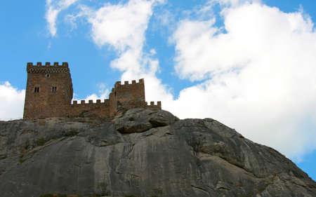 sudak: Tower of Genoese fortress in Sudak, Crimea Stock Photo