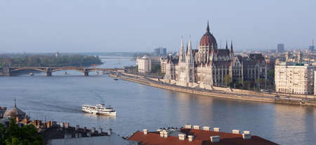 Eastern Europe Hungary Budapest Parliament from Fishermens Bastion photo