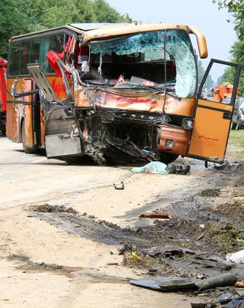 KOVEL, UKRAINE - JULY 11: Scene of bus crash where nine Ukrainian, Belarusian and Bulgarian Tourists were died and as many as 30 others were injured July 11, 2013 just outside Kovel, Ukraine. Editorial