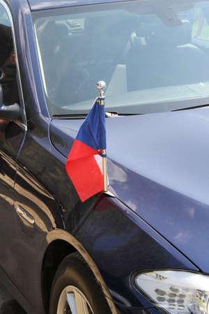 diplomatic: Czech flag at the Czech diplomatic car Stock Photo
