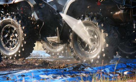 Car washing, using a high pressure water jet 写真素材