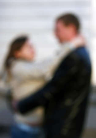 artful: Absolutely unsharp image of man and woman who embrace