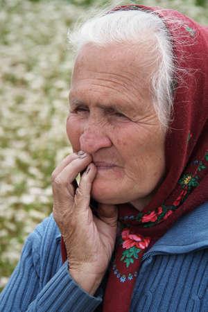 VLADIMIRETS, UKRAINE - JULY 04 - An unidentified senior woman standing at a field near Vladimirets on July 04, 2013. Land privatization is a big problem in Ukraine.