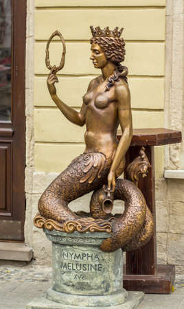 nympha: LVIV; UKRAINE - OCTOBER 13: Sculpture - Nympha Melusine on October 13, 2013 in Lviv, Ukraine. Editorial