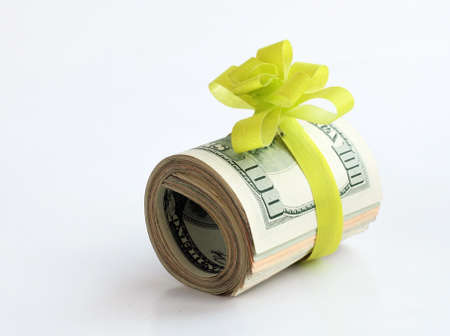 give money: U S  dollars banknotes with a green ribbon as a gift of money