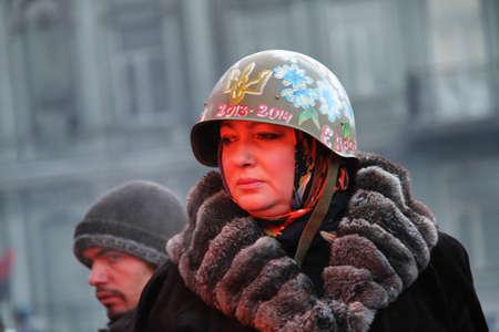 KIEV, UKRAINE - JAN 26, 2014: Mass anti-government protests in the center of Kiev on Hrushevskoho St. near Dynamo Stadium