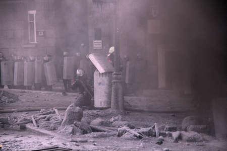maidan: KIEV, UKRAINE - JAN 25, 2014: Anti-government revolt on Euromaidan Editorial
