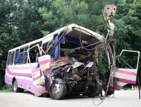 KOVEL, UKRAINE - JULY 11: Scene of bus crash where nine Ukrainian, Belarussian and Bulgarian Tourists were died and as many as 30 others were injured July 11, 2013 just outside Kovel, Ukraine.  Editorial
