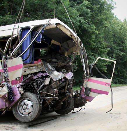 KOVEL, UKRAINE - JULY 11: Scene of bus crash where nine Ukrainian, Belarussian and Bulgarian Tourists were died and as many as 30 others were injured July 11, 2013 just outside Kovel, Ukraine.