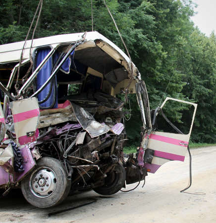 heartbreaking: KOVEL, UKRAINE - JULY 11: Scene of bus crash where nine Ukrainian, Belarussian and Bulgarian Tourists were died and as many as 30 others were injured July 11, 2013 just outside Kovel, Ukraine.  Editorial