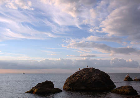 Seagulls on a sea stones sky with clouds photo